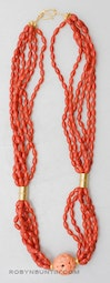 6 Strand Coral Necklace by Tomi