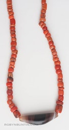 Coral and Tibetan Agate Necklace